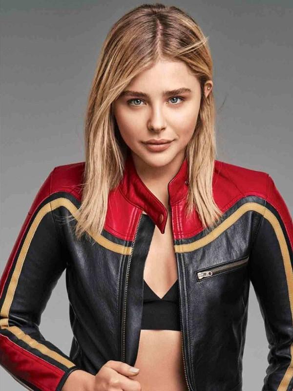coat womenwear womenfashion womenstyle style me chloe grace moretz captain marvel leather jacket