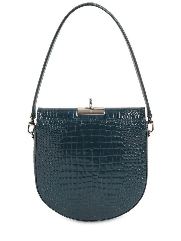 GU DE Demilune Croc Embossed Leather Bag in petrol