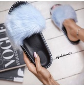 shoes,baby blue,blue,fur,slippers,slip on shoes