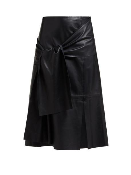 Joseph - Renne Tie Front Leather Midi Skirt - Womens - Black