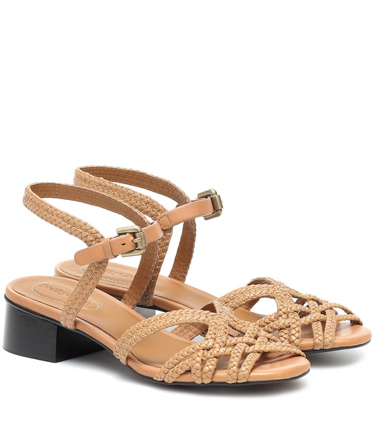 See By Chloé Braided-leather sandals in brown