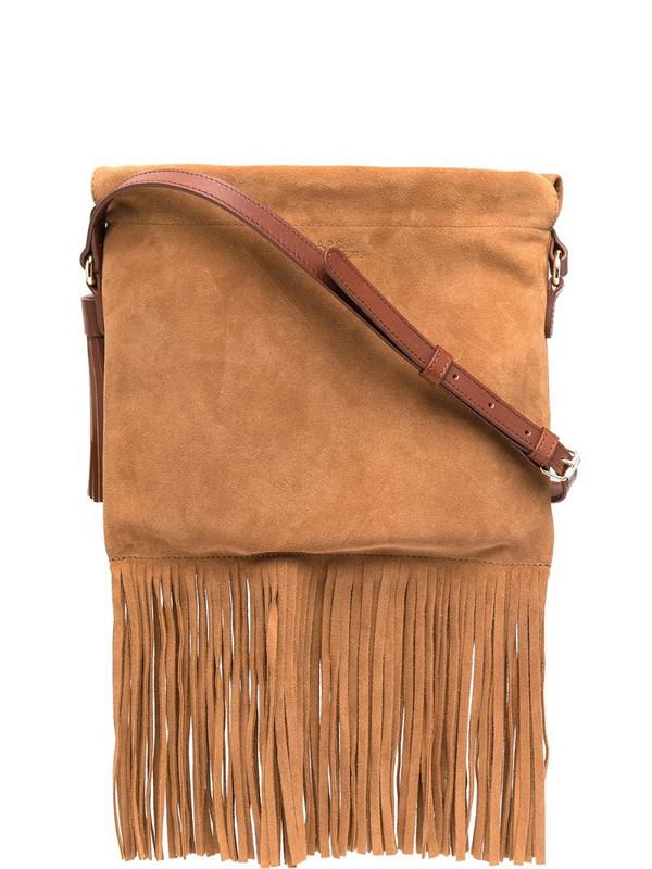 A.P.C. fringe-edge crossbody bag in brown