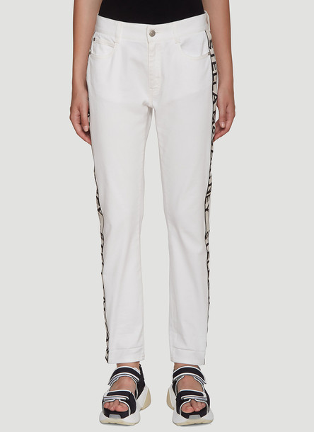 Stella Mccartney Logo Stripe Jeans in White size 28