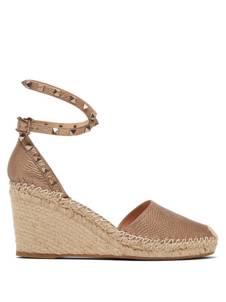 Valentino - Rockstud Leather Espadrille Wedges - Womens - Gold