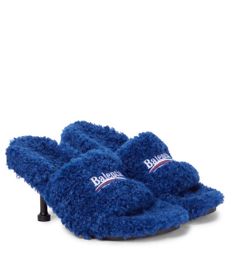 Balenciaga Faux shearling sandals in blue