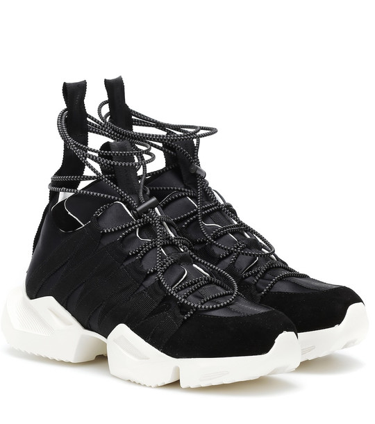 Unravel Suede-trimmed satin sneakers in black