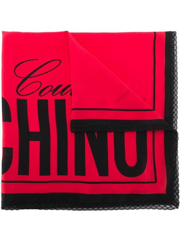 Moschino logo-print scarf in black