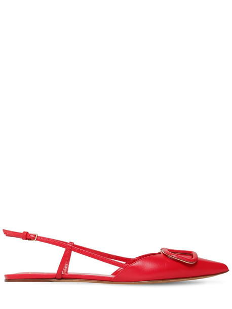 VALENTINO 10mm Vlogo Leather Slingback Flats in red