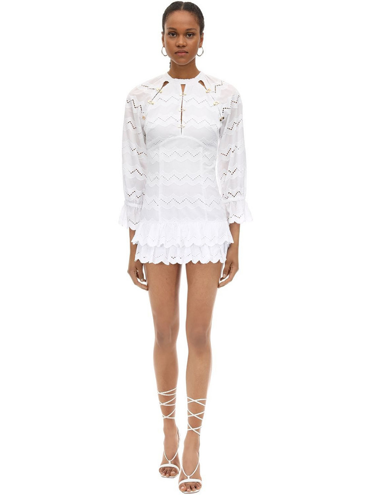 ALICE MCCALL Cotton Eyelet Lace Mini Dress in white