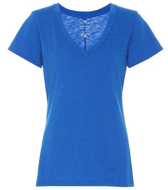 Velvet Cotton T-shirt in blue