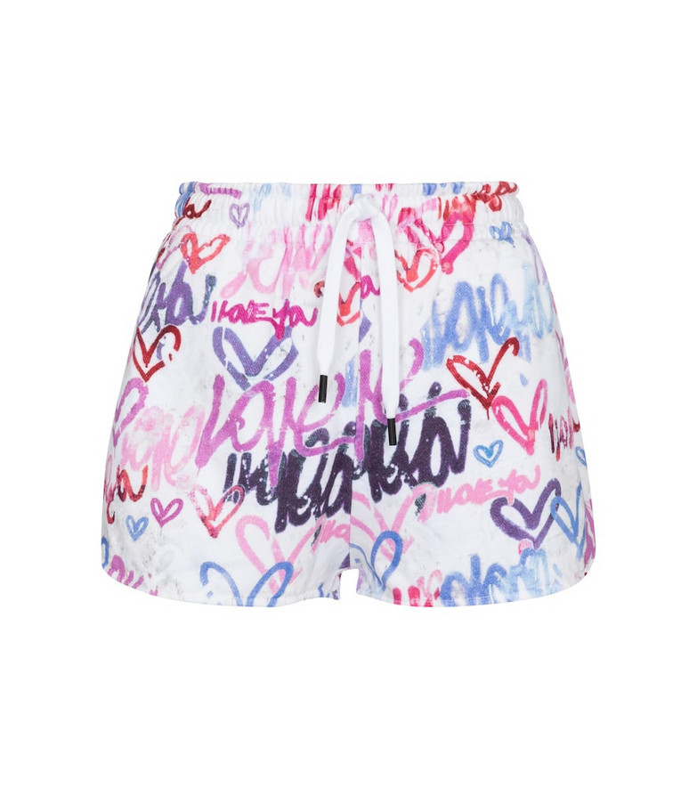 Isabel Marant Mifikia printed cotton-blend jersey shorts in white