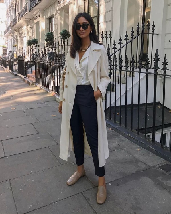 coat trench coat double breasted zara long coat mules high waisted pants white blouse