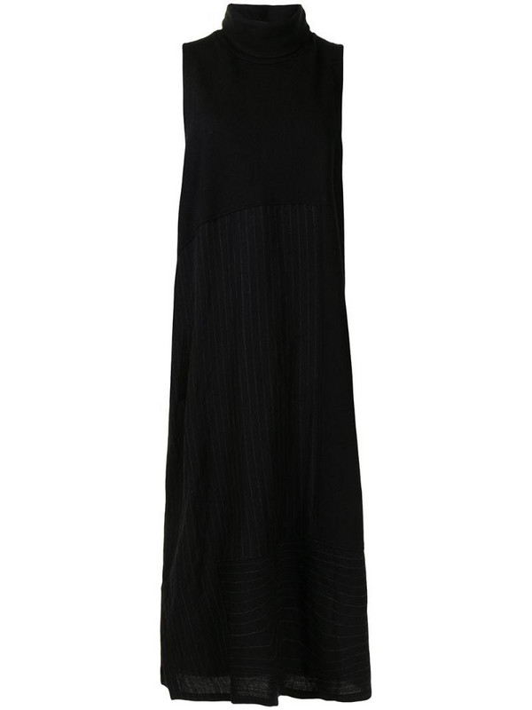 Y's sleeveless roll neck dress in black