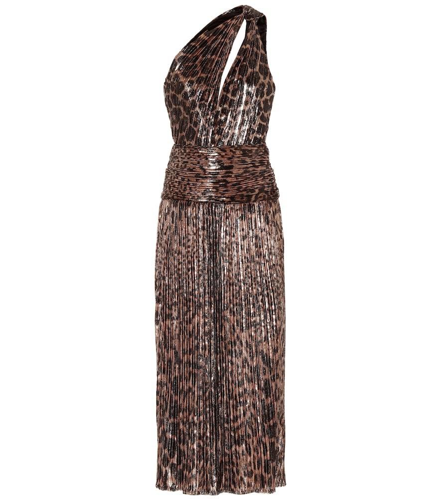 Saint Laurent Leopard-print velvet dress in brown