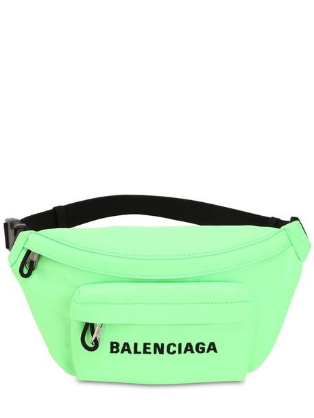 BALENCIAGA Wheel S Logo Print Nylon Belt Bag in green