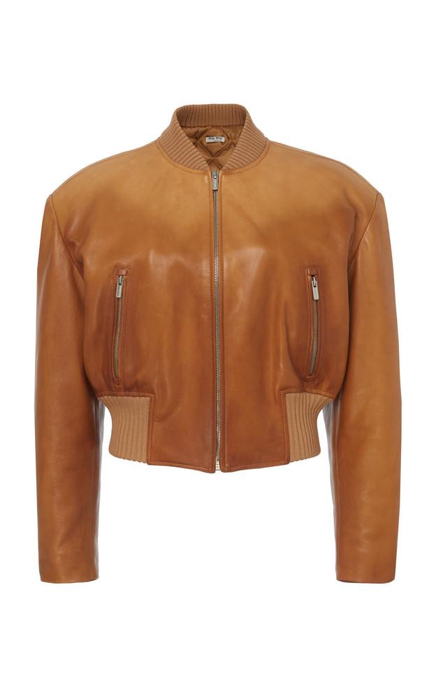 Miu Miu Oversized Leather Jacket in brown