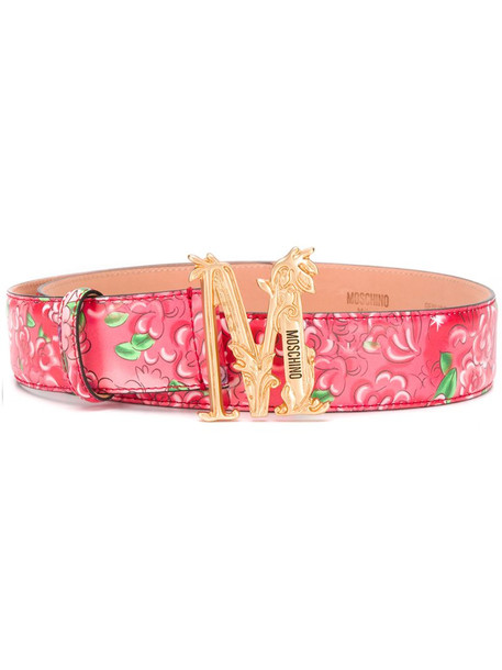 Moschino floral-print logo belt in red