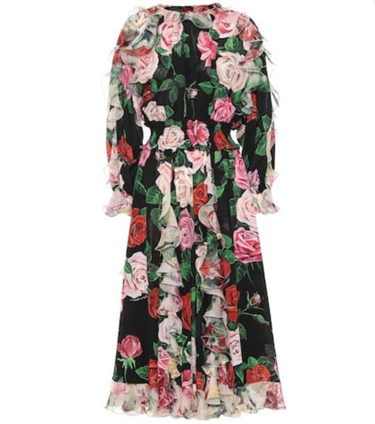 Dolce & Gabbana Floral silk dress in black