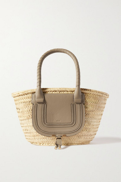 Chloé Chloé - Marcie Textured Leather-trimmed Raffia Tote - Green