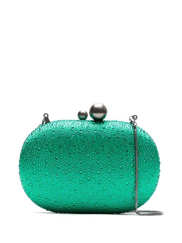 Isla strass clutch in green
