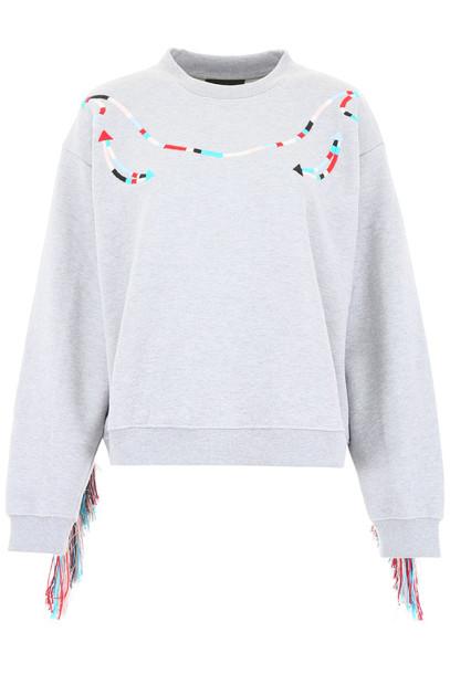 Alanui Fringed Sweatshirt in grey