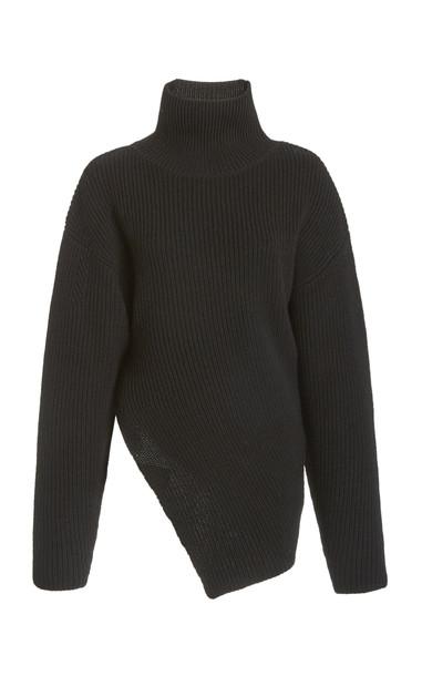 Proenza Schouler Merino Wool Asymmetrical Turtleneck Sweater in black
