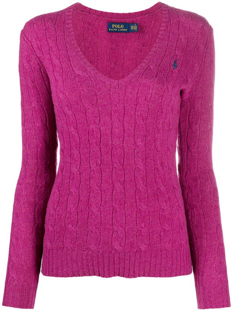 Polo Ralph Lauren v-neck cable knit sweater in pink