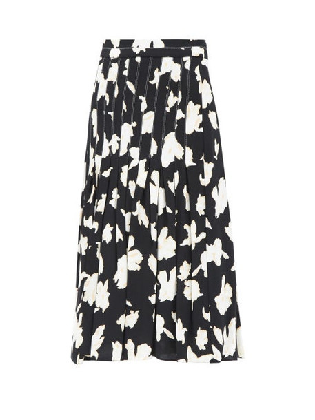 Proenza Schouler - Pleated Floral-print Georgette Skirt - Womens - Black Multi