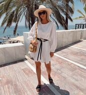 dress,white dress,long sleeve dress,slide shoes,chloe,bag,hat
