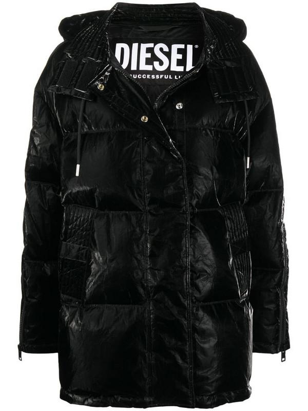 Diesel coated padded down coat in black