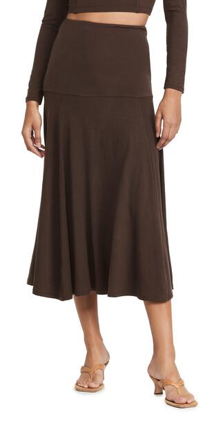 Ninety Percent Stretch Tencel SJ Yoke Flare Skirt in chocolate