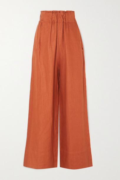 BONDI BORN - Universal Linen-twill Wide-leg Pants - Tan