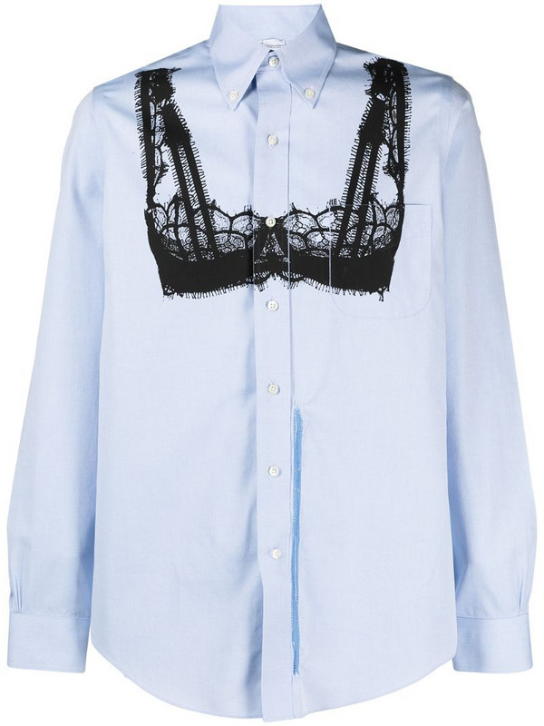 Random Identities lingerie-print cotton shirt in blue