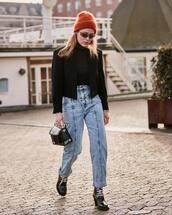 jeans,high waisted jeans,isabel marant,black boots,lace up boots,patent boots,pvc,handbag,black blazer,black turtleneck top,beanie,sunglasses