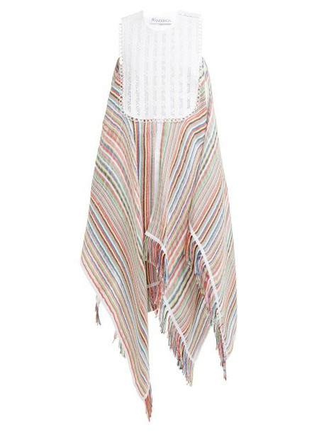 Jw Anderson - Handkerchief Hem Striped Voile Maxi Dress - Womens - Multi