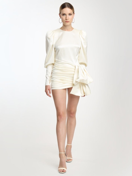 MAGDA BUTRYM Silk Taffeta & Jacquard Mini Dress in white