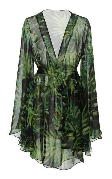 Caroline Constas Mer Printed Chiffon Cover-Up Size: S in print