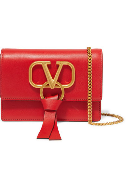 Valentino - Valentino Garavani V-ring Small Leather Shoulder Bag - Red