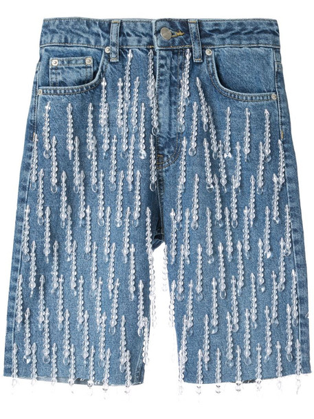 Dalood all-over pearl embroidered denim shorts in blue