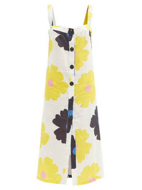 Cala De La Cruz - Tamara Floral-print Linen Midi Dress - Womens - Cream Print