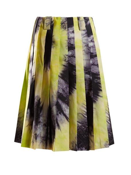Prada - Tie Dye Silk Faille Skirt - Womens - Black Green