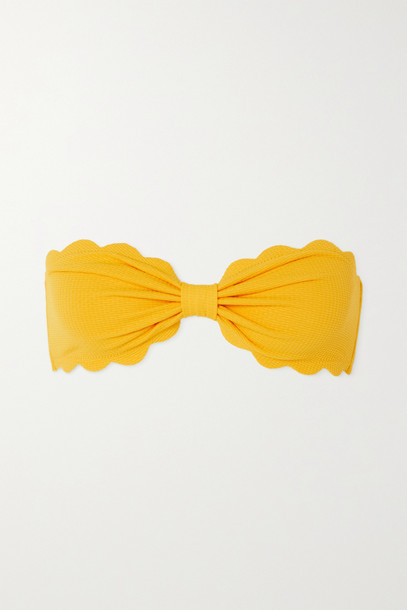 MARYSIA - + Net Sustain Antibes Reversible Scalloped Recycled Seersucker Bandeau Bikini Top - Orange