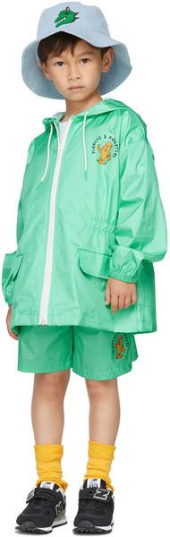 Jellymallow Kids Green Board Summer Shorts in mint
