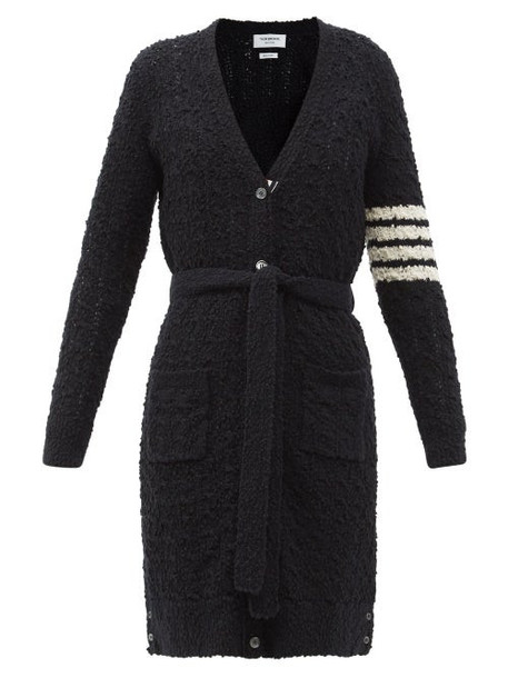 Thom Browne - Four-bar Cotton-blend Bouclé Cardigan - Womens - Navy