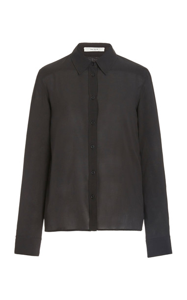The Row Ina Pointed-Collar Silk-Blend Top in black