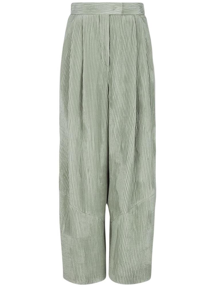 GIORGIO ARMANI Plissé Effect Silk Satin Wide Leg Pants in green