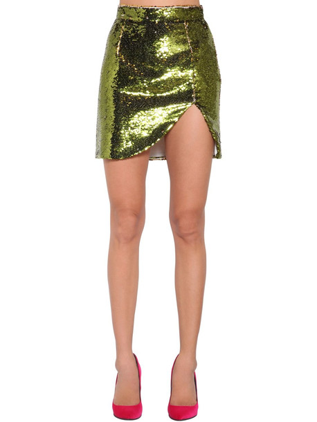 AMEN Sequined Mini Skirt in gold / green