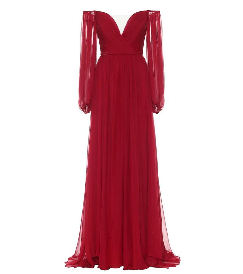 Monique Lhuillier Off-shoulder silk-chiffon gown in red