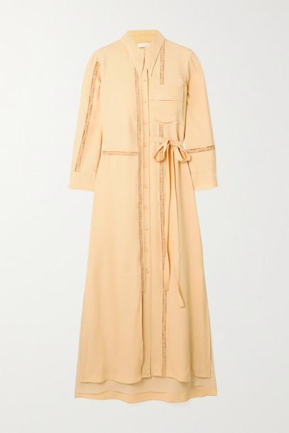 CHLOÉ CHLOÉ - Belted Lace-trimmed Crepe Midi Shirt Dress - Cream
