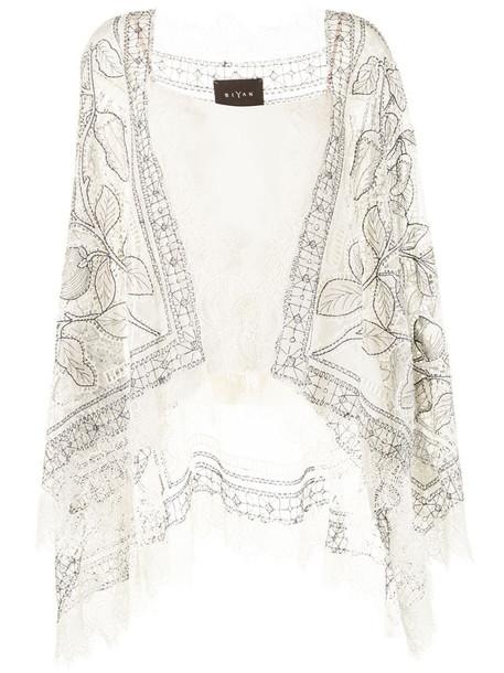 Biyan foral lace panel poncho in white